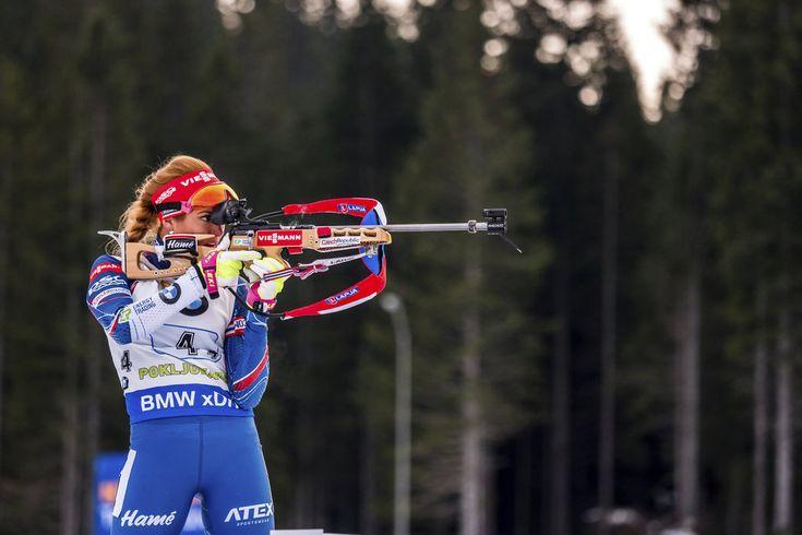 Gabriela Koukalová na svém úseku štafety dělala co mohla, na víc než na čtvrté místo to nestačilo...