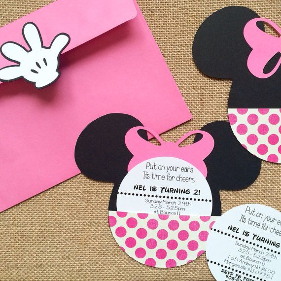 Mickey or Minnie Mouse birthday invitations! Hand crafted of heavy cardstock, includes envelopes with glove closure! Fun and memorable! (18)