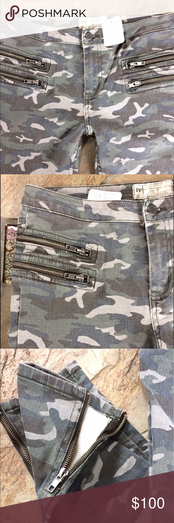 "🍃💕NWT Free People Camo Zip Ankle Skinny Denim NWT Free People Camo Skinny Denim Jean features edgy double zip front pockets, rear patch pockets,  pieces leg seam details, inner ankle zip. Approximate measurements laying flat: Waist 16.5"", 9"" front rise, inseam 26.5"". Comprised of a stretch blend: 94% Cotton, 5% Poly, 1% Spandex. Fit is TTS. No trades ever Free People Jeans Skinny"