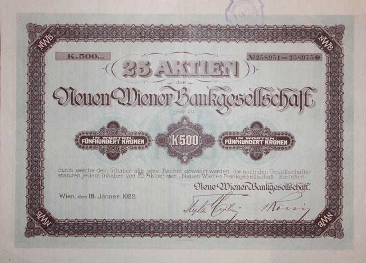 """25 Aktien """"Wiener Bankgesellschaft"""". 12.500 Kronen, Wien 1922"""