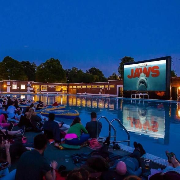 With one of London's few outdoor swimming pools, Brockwell Lido hosts a screening of Jaws poolside to kick off the summer season. | Photo Credit: Luna Cinema