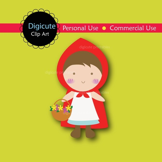 Little Red Riding Hood Digital CLIP ART personal and commercial use for cards, invitations, scrapbooking, cupcake toppers