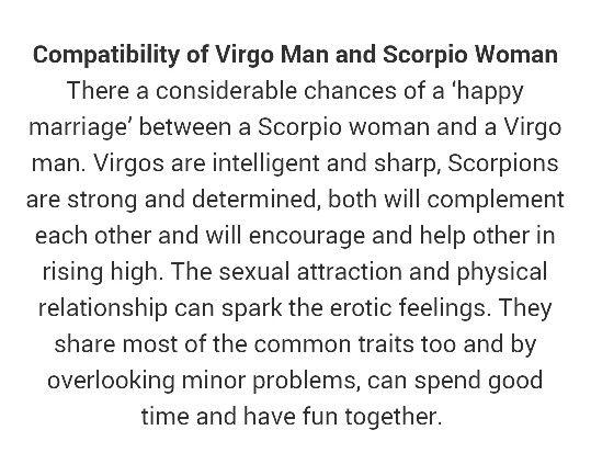 Virgo man Scorpio woman love compatibility