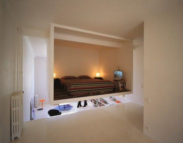 Bedroom strange bed floating white Brown floating