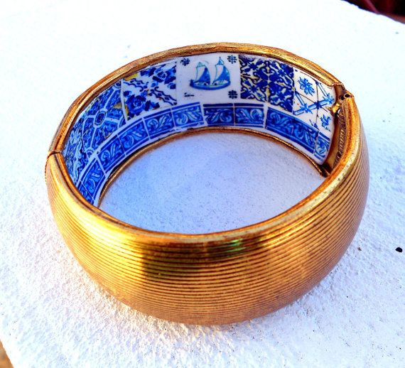 Portugal Antique Tile Replica Cuff Bracelet  Like a Buried Treasure - Statement Piece -Discreet- OOAK