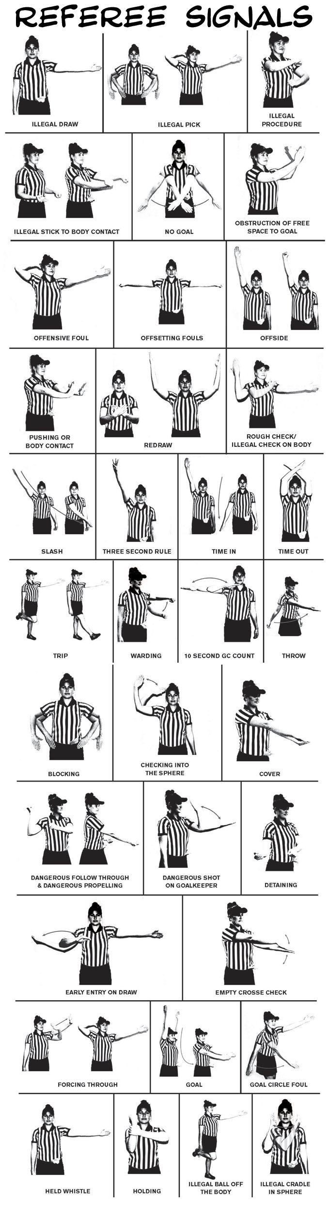 Womens/Girls Referee Signals