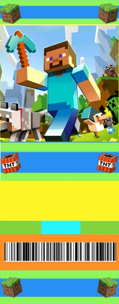 Free Minecraft movie ticket birthday invitations