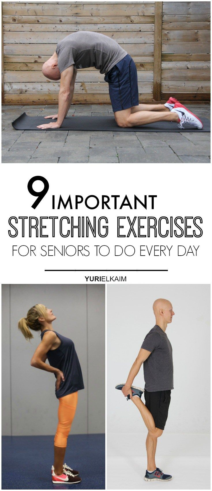 Studies have shown that with age, flexibility decreases by up to 50 percent in some joints. So if you're looking to gain more mobility and flexibility (which can help ward off falls and other injuries), stretching will be your new best friend. Here are 9 important stretches you should work into your daily routine. | Yuri Elkaim