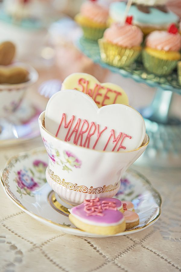 Marry Me Sugar Cookies | Maru Photography | See More: http://heyweddinglady.com/sweeter-than-candy-retro-valentines-day-styled-shoot-in-pastel-hues-from-maru-photography/