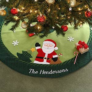 Christmas Family Embroidered Santa Tree Skirt