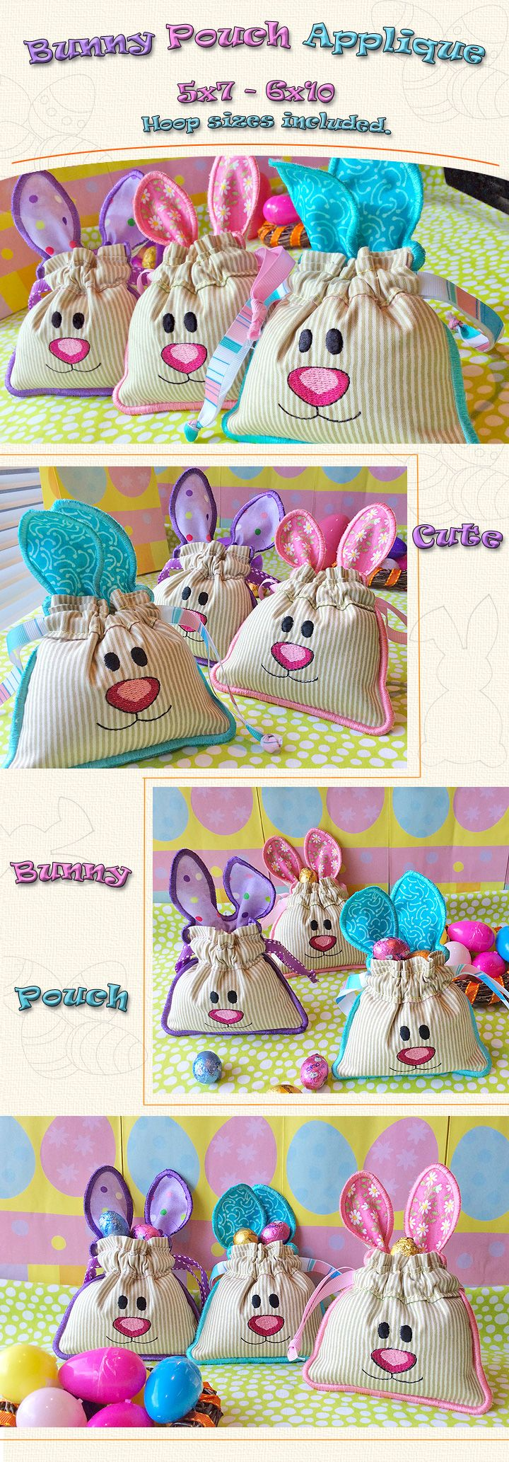Beautiful Bunny Pouch completely done in the hoop, easy to follow applique instructions included, 5x7 and 6x10 hoop size. Add some fluffy fabric to make those bunnies even cuter. Enjoy....Cords Pack and Pastel Fabric Bundle Available here!