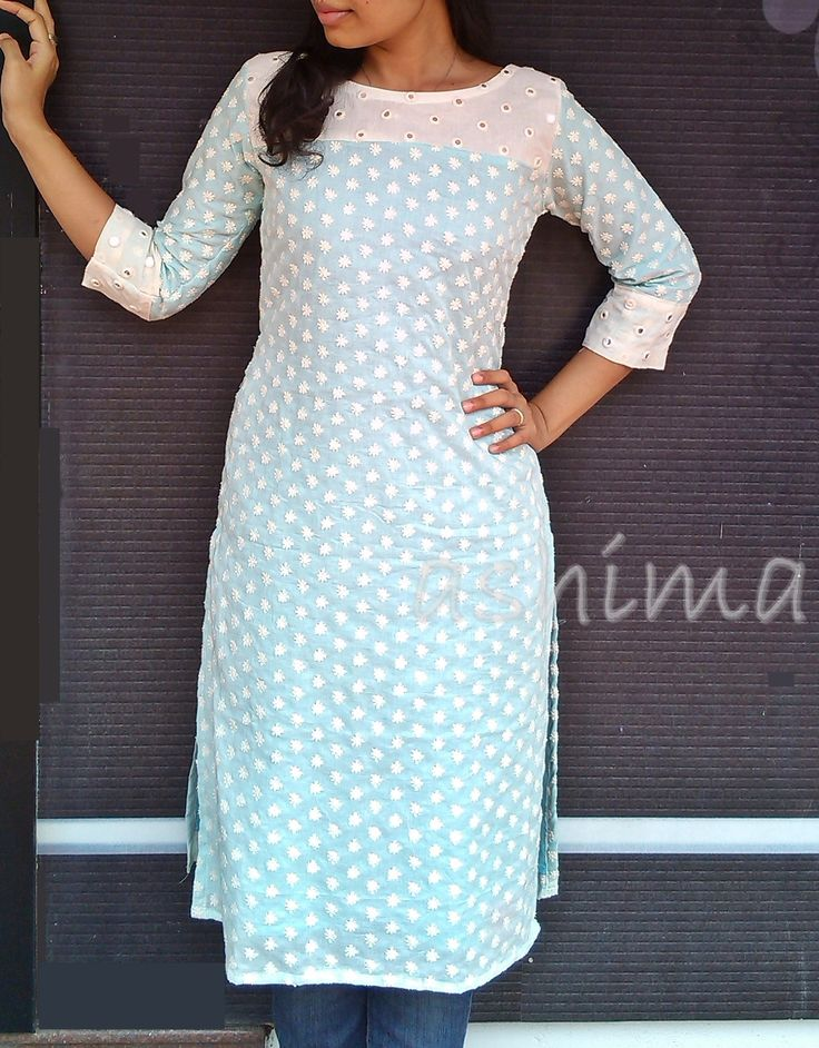 Code:2510150-Long Kurta With All Over Embroidery & Morror Work Yoke-  Price INR:2690/-