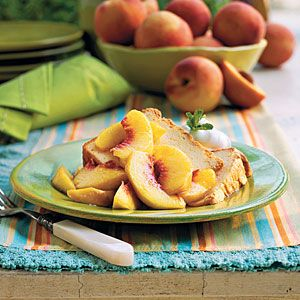 Best of Summer Pound Cakes | Sour Cream Pound Cake with Fresh Peaches | SouthernLiving.com