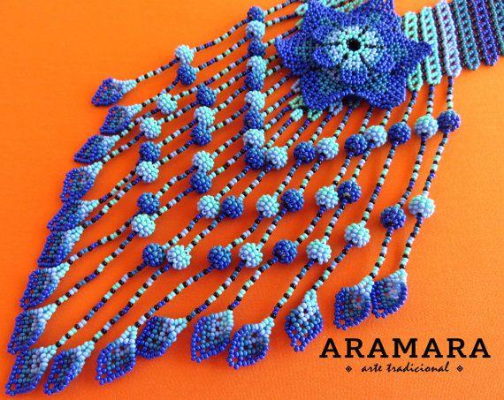 Mexicana Huichol con cuentas azul flor collar CFG-0072