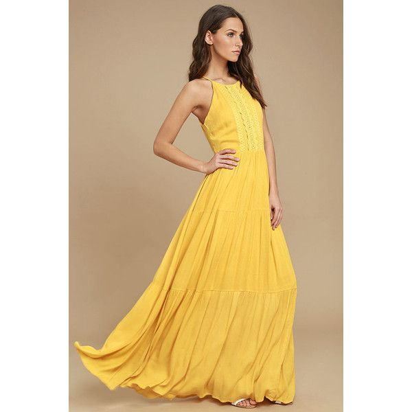 For Life Golden Yellow Embroidered Maxi Dress ($69) ❤ liked on Polyvore featuring dresses, yellow, button maxi skirt, yellow maxi dress, embroidery dresses, floor length maxi skirt and maxi skirt