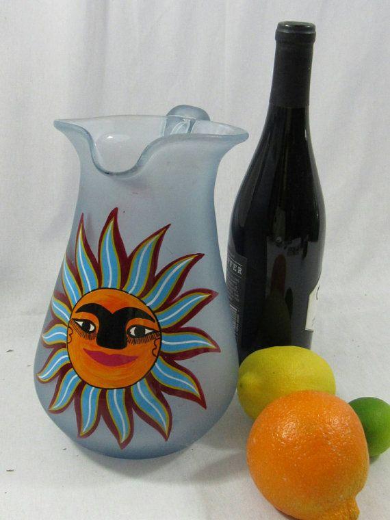 Vintage Frosted Glass Sangria Margarita Pitcher Southwestern Sunshine Hand…