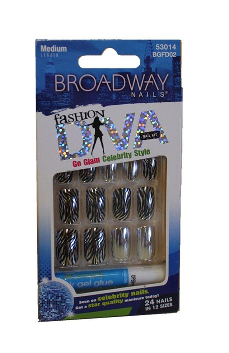 Broadway Fashion Diva Nails ~ 7 Day Wear (Medium, Go Glam Zebra Nails) >>> Click image for more details.