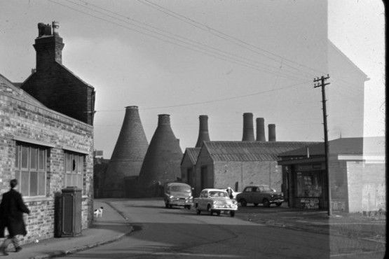 Pottery kilns, Edensor Road from Greendock Street. More unseen images of Longton: Bert Bentley Collection