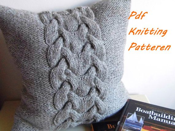 PDF KNITTING PATTERN Cable knit pillow cover No.3 by ELITAI