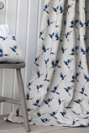 Bollin Bird Inky Sky linen curtain #linen #curtain #bird fabric #designer linen