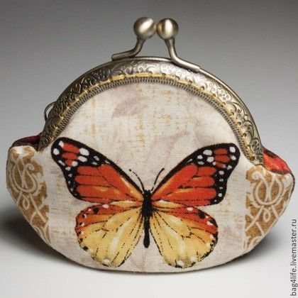 Персональные подарки ручной работы. Ярмарка Мастеров - ручная работа. Купить Кошелек с бабочкой Монарх. Handmade. Разноцветный, кошелек для мелочи