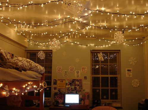 string lights on ceiling Dream Bedroom Pinterest Beautiful, String lights and I love
