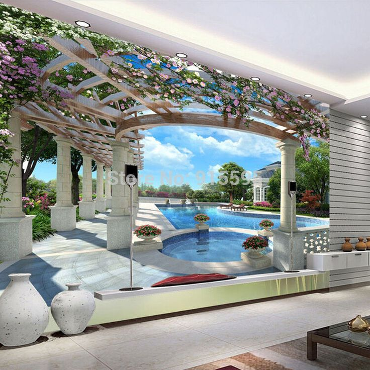 3D Wallpaper Bedroom Living Mural Roll Swimming Pool Luxury Wall Background TV #…