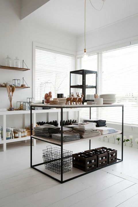 :: Havens South Designs :: an open concept kitchen works well in small dwellings. Think retail display of simple table and cookware, and narrow shelves for canned goods and spices making them  colorful art compositions, not pantry items.