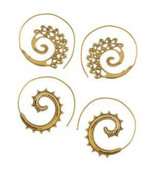 Spiral Floral Gold Tone Brass Earrings Set of 2 Pair