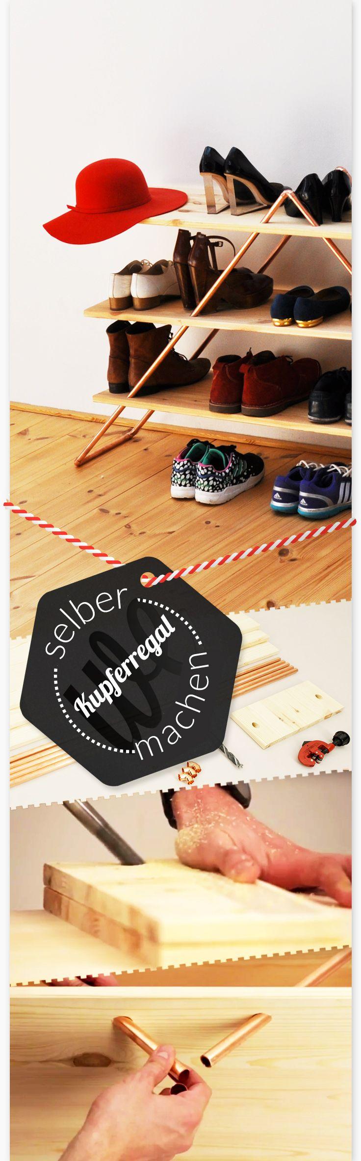 Garderobe für die Schuhe - Regal aus Kupfer und Holz zum Aufstellen. ᐃ-Form, Kupfer-Rohre, schlichtes helles Fichtenholz. Schön im Flur für Gäste und die Lieben...