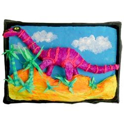 Art Project: Create a vibrant dinosaur relief sculpture out of papier mâché and acrylic paint!