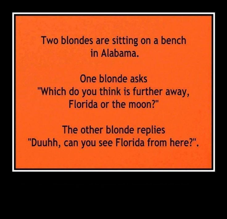 Blonde jokes. And I'm not being mean, because I know it's just a stereo type so please no one hate me for this because it just is a funny joke I DO NOT believe that blondes are stupid.