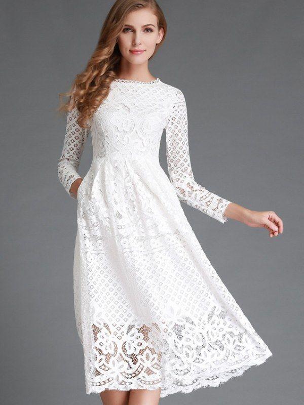 New Size Lace Grace Hollow High Waist Dress