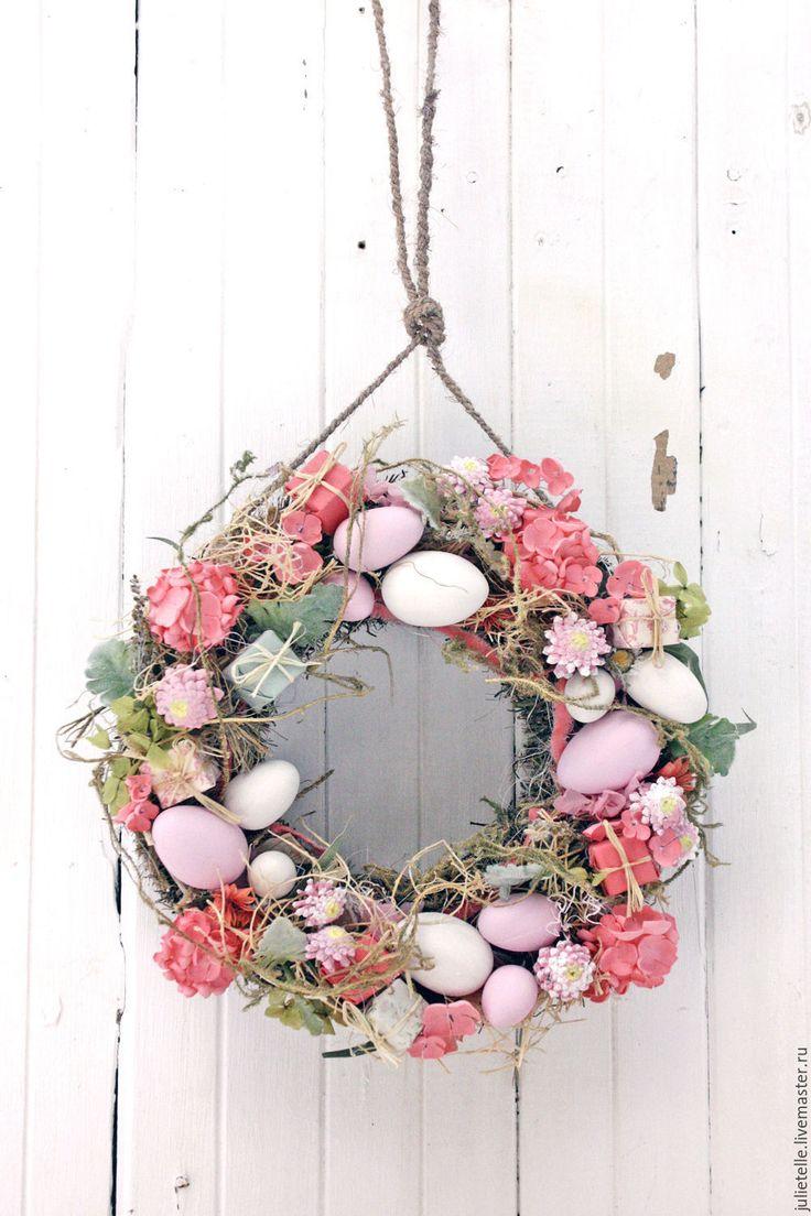 Купить Розовый пасхальный венок - розовый, венок, Пасха, Декор, весна, подарок на Пасху