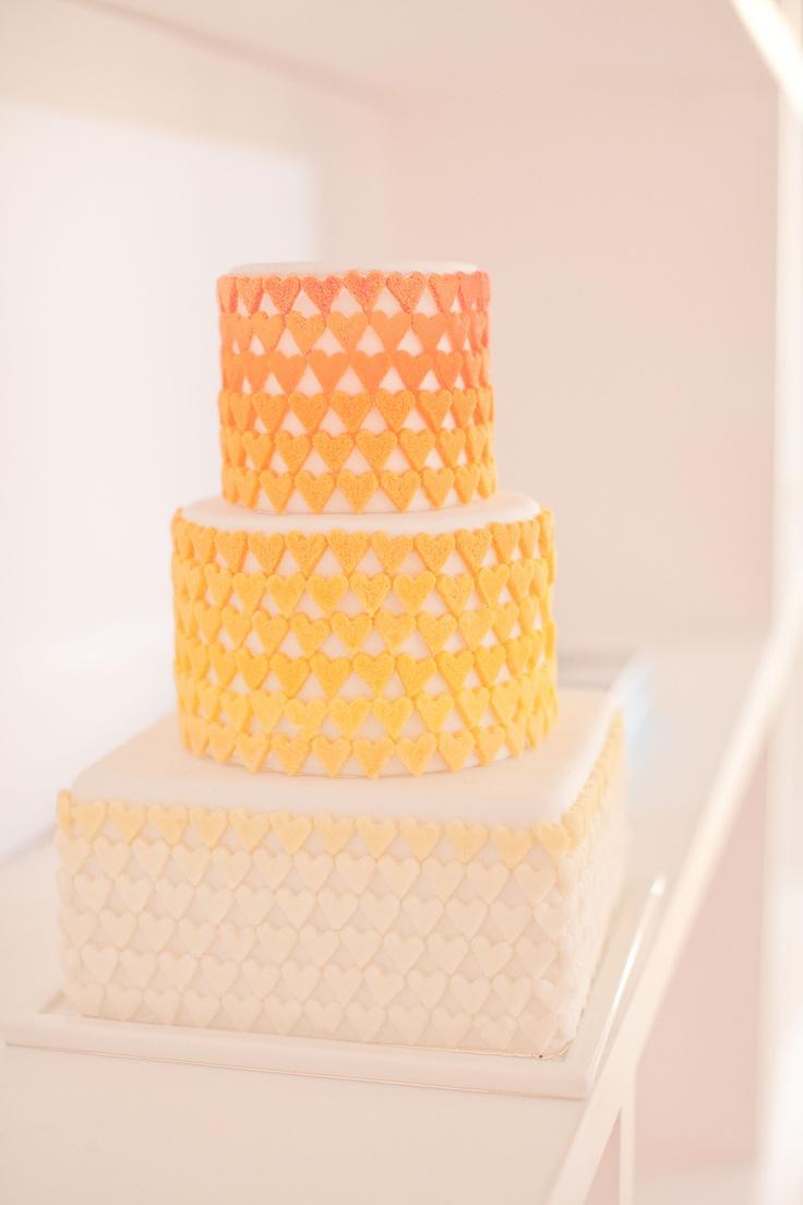 Orange ombre heart wedding cake