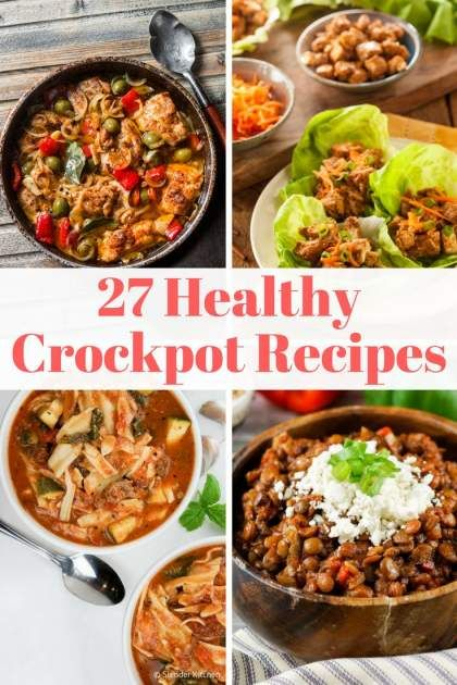 27 Healthy Crockpot Recipes you will want to make for dinner tonight! Using the slow cooker makes cooking easy, plus all of the recipes are healthy, made with easy to find ingredients, and include nutritional info and Weight Watchers Freestyle Smartpoints. | Slender Kitchen | Crock Pot | Slow Cooker | Dinner | Weight Watchers | Lunch | #healthyrecipes #crockpot #slowcooker #weightwatchers #lunch #slenderkitchen #dinner