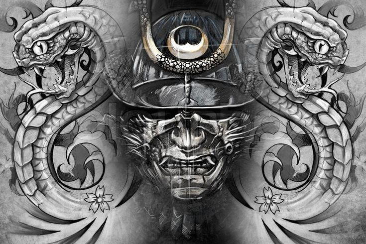 Stock image of 'Japanese mask and snakes. Tattoo design over grey background. textured backdrop. Artistic image'