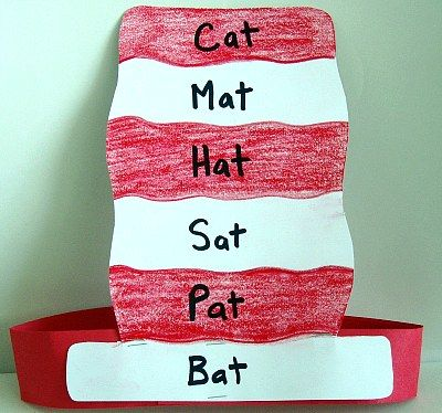The Cat In The Hat - This classic Dr. Seuss book (about a tall mischievous cat who is famous for his white-striped hat and red bow tie) includes multiple words with short vowels.  One extension for this book would be to have children create a hat that is made of rhyming words.  Once the hat is complete a connection can be made between words that rhyme and their vowel sounds.