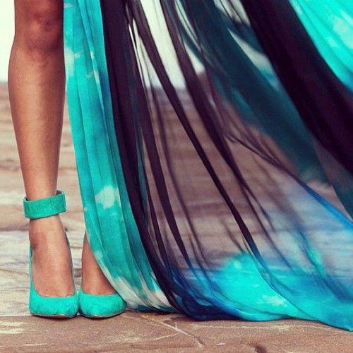 .Turquoise Blue, Fashion, Style, Dresses, Blue Shoes, Heels, Summer Colors, Aqua, Gary Pepper