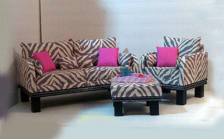American Girl Zebra Living Room Set by HKDesignz on Etsy