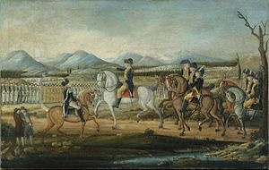 George Washington reviews the troops near Fort Cumberland, Maryland, before their march to suppress the Whiskey Rebellion in western Pennsylvania.
