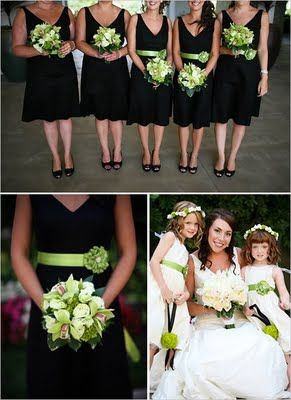 black, white, green wedding
