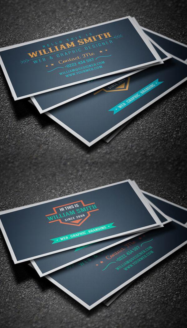 Retro Business Card Template #businesscards #visitingcards #printready #psdtemplates