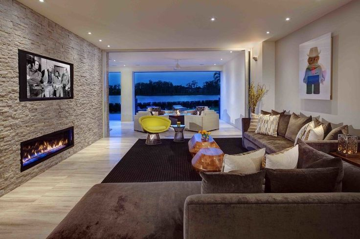 Stone accent wall living room