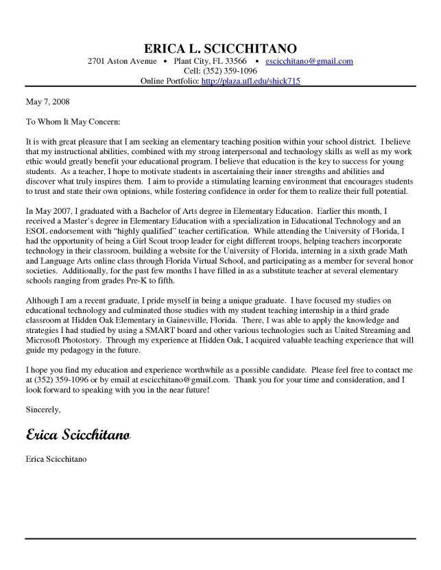 Cover Letter Template Elementary Teacher #cover #coverlettertemplate