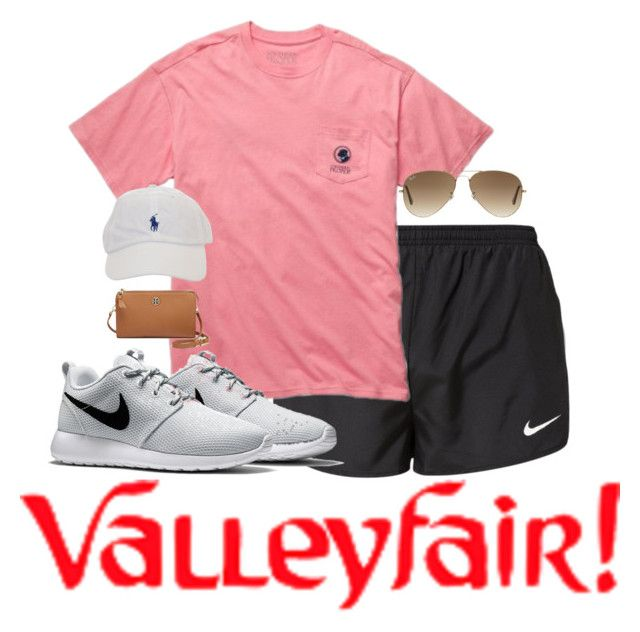 """amusement park outfit of the day"" by kennagracee ❤ liked on Polyvore featuring NIKE, Ray-Ban and Tory Burch"