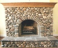 beach stone fireplaces | ... river rock and beach pebbles are perfect for a small beach cottage