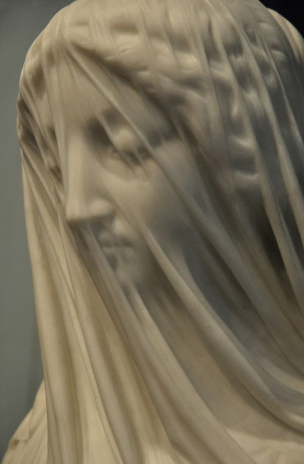 """The illusion of transparent cloth carved in marble.  """"The Veiled Virgin"""" (1856)…"""