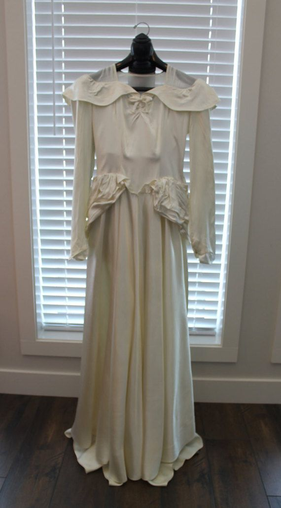 Vintage Ivory Satin 1940's Wedding Gown by FunkieFrocks on Etsy