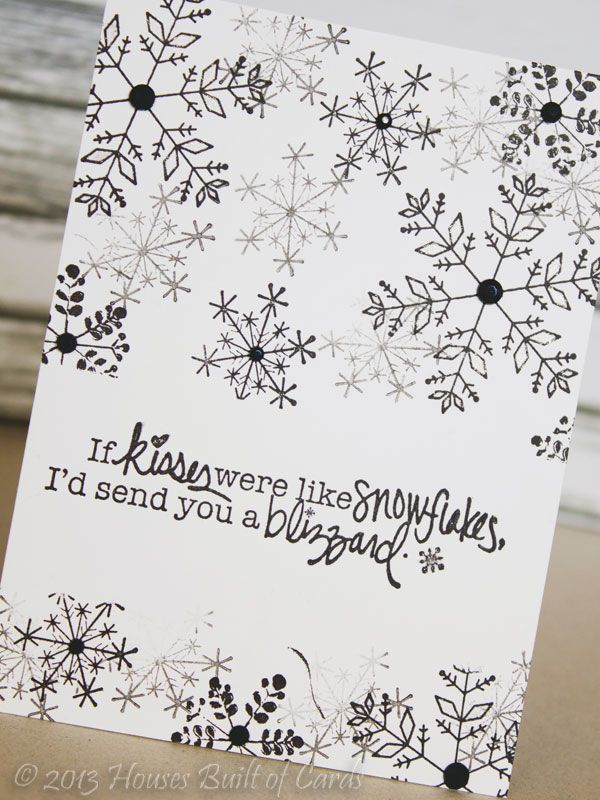 Pretty & simple DIY christmas card. So cute! — Houses Built of Cards: Black and White Blizzard #Zentangle #Christmas #Zentangle Patterns